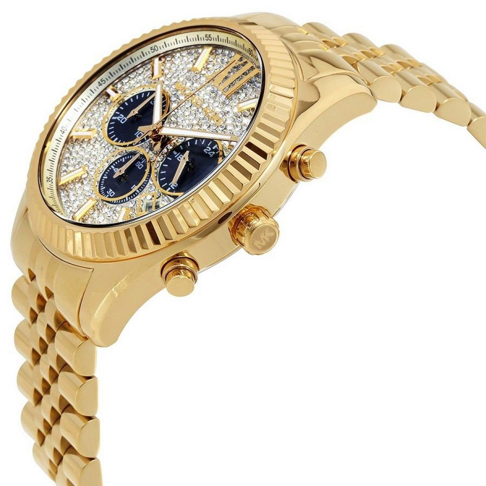 watch mk8494 3 - Men's Gold-Tone Lexington Chronograph Watch MK8494